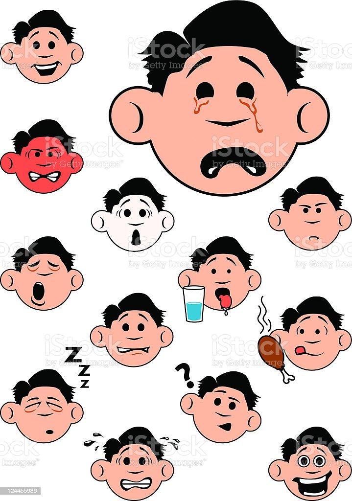 Boy's Emotions vector art illustration