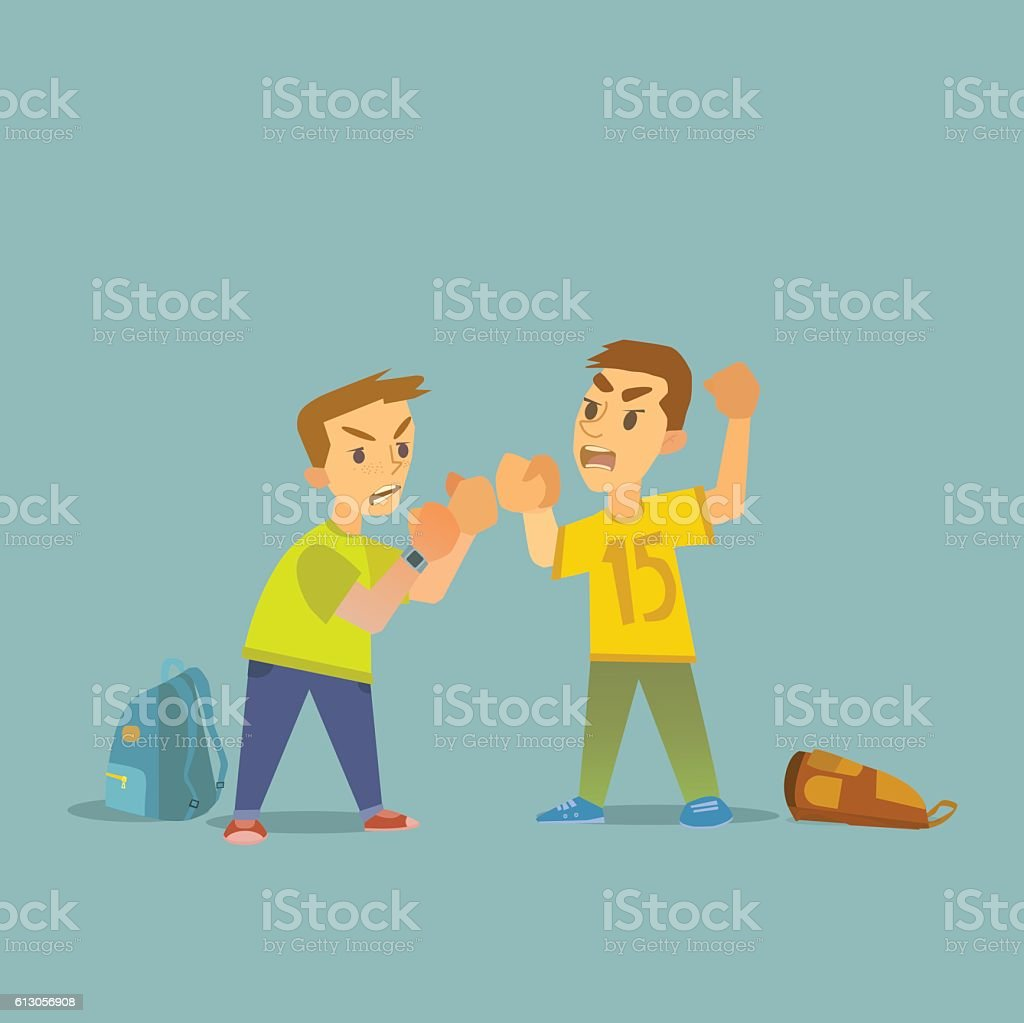 Boys fighting and getting hurt illustration. vector art illustration