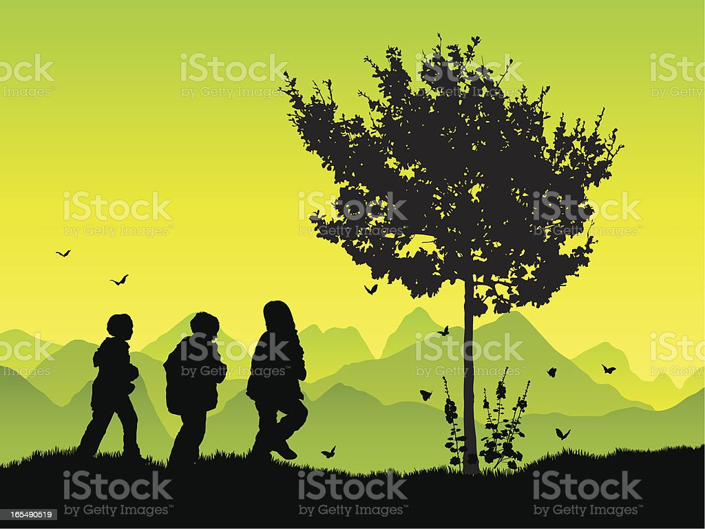 Boys having fun together in silhouette vector art illustration