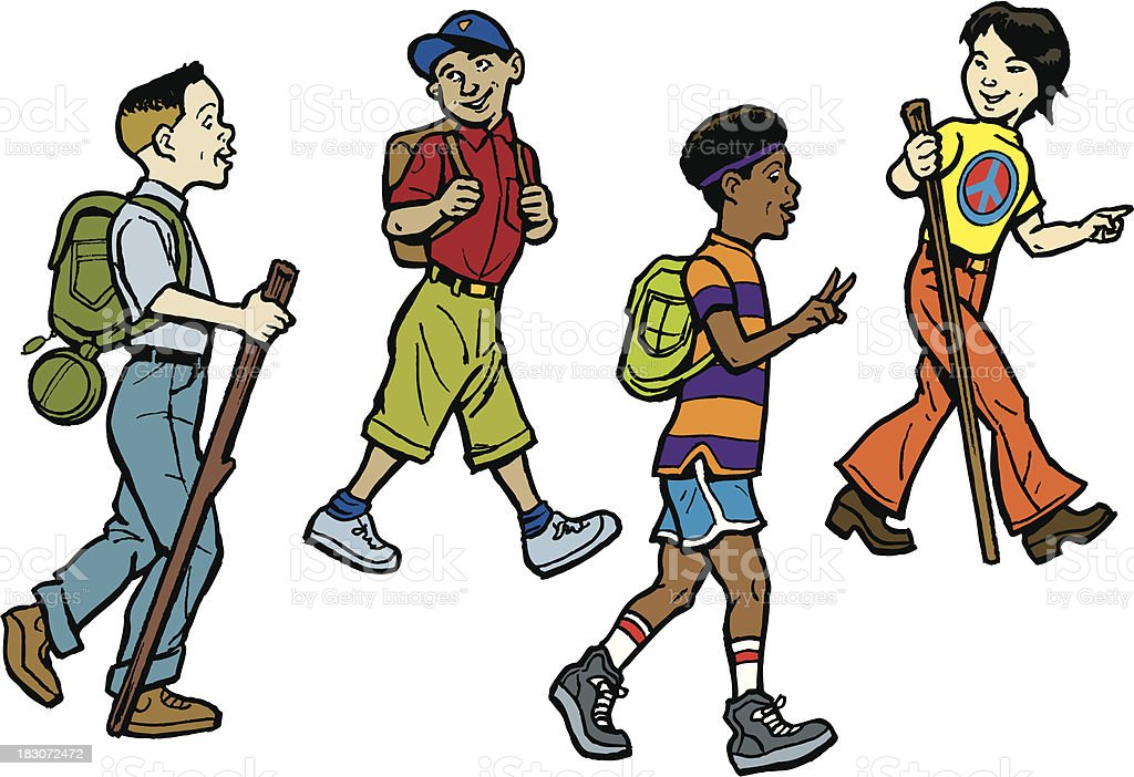 Boys Hiking in Different Eras, 40's, 50's 60's, 70's royalty-free stock vector art