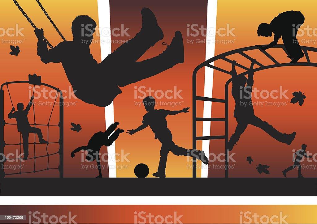 Boys in the playground vector art illustration