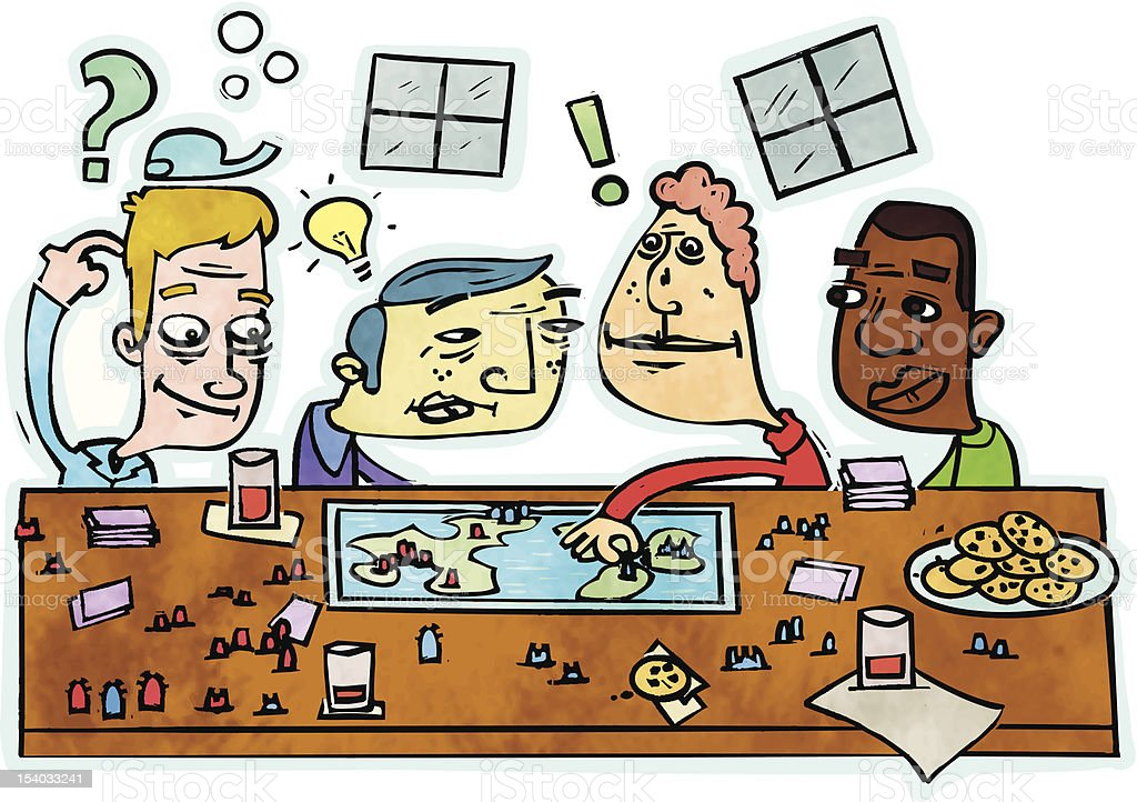 Boys playing a board game. vector art illustration