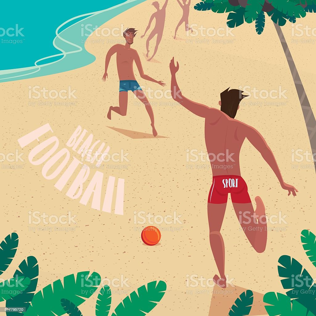 Boys playing with a ball at the sea vector art illustration