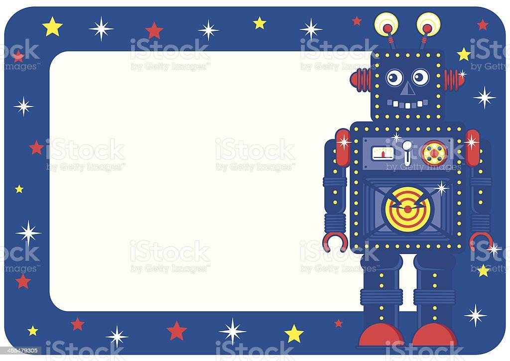 Boys Retro Robot Invite or Place Card royalty-free stock vector art