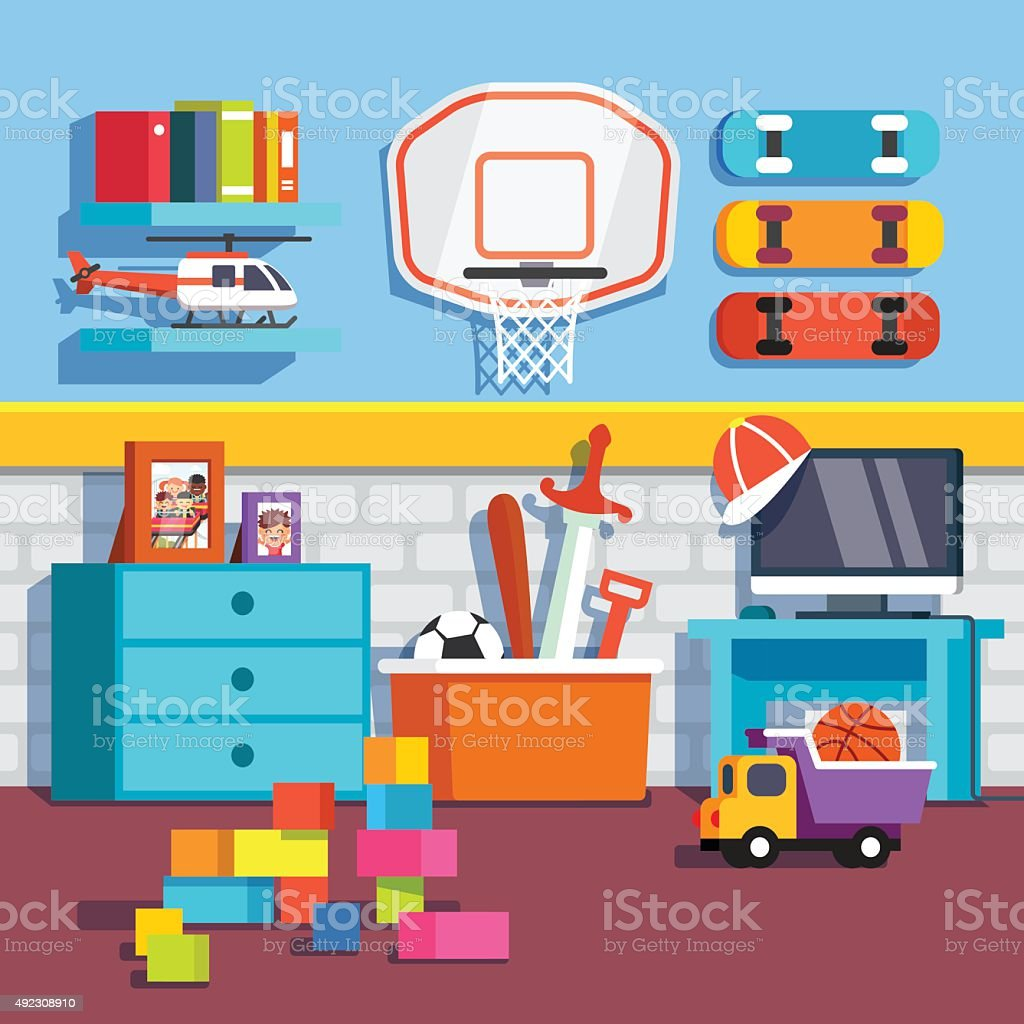 Boys room with toys, skateboards, basketball ring vector art illustration