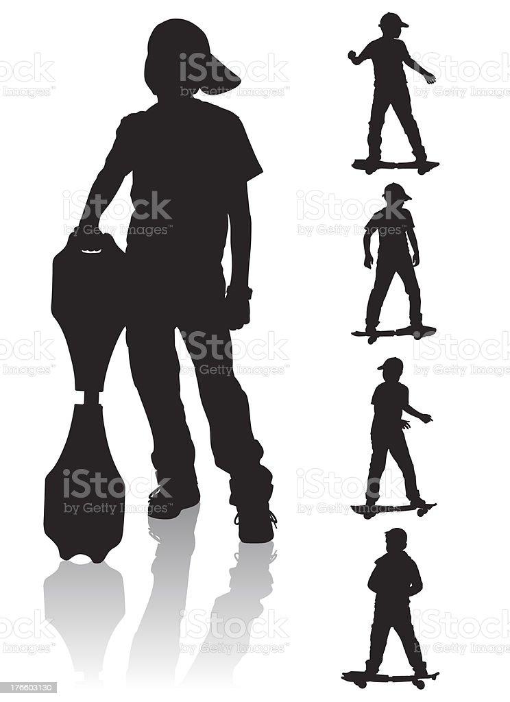 boys skate board royalty-free stock vector art