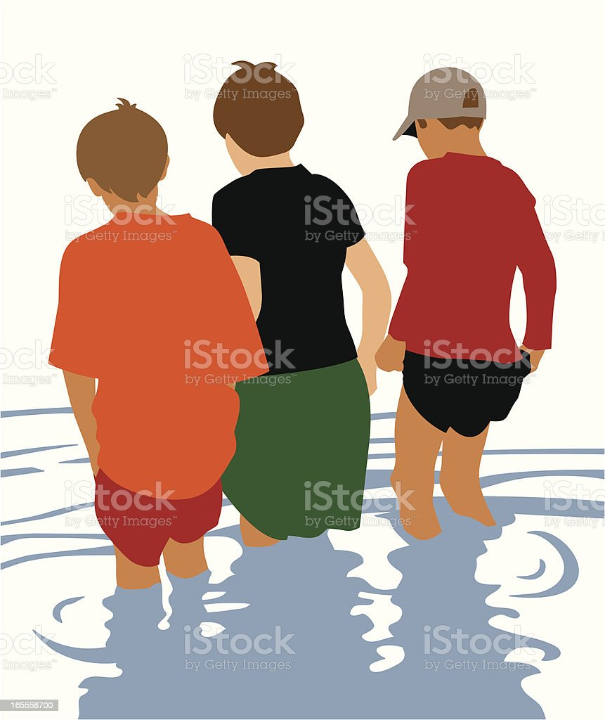 Boys Wading royalty-free stock vector art