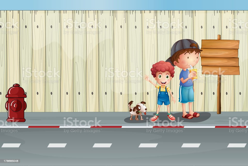 Boys with their pets in the street royalty-free stock vector art