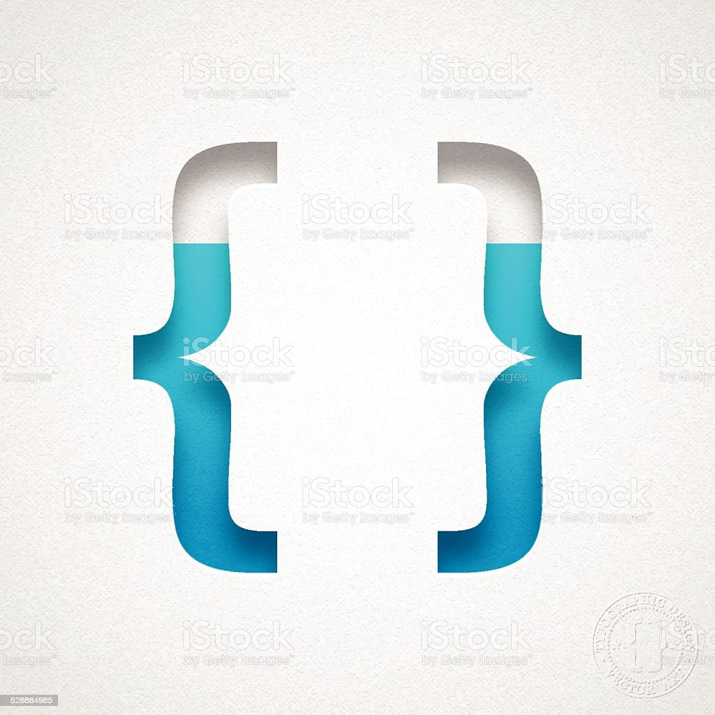Brackets Symbol { } - Blue Symbol on Watercolor Paper vector art illustration