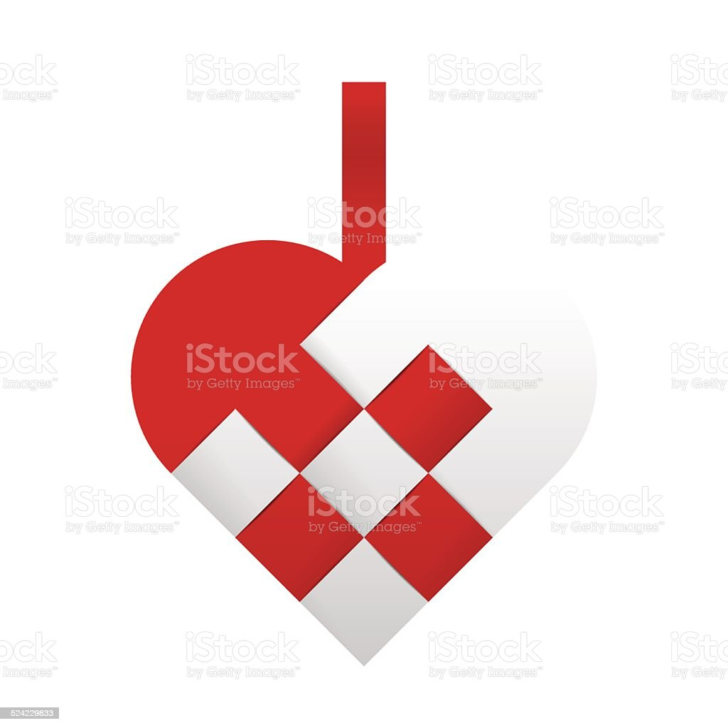 Braided christmas heart - red and white vector art illustration