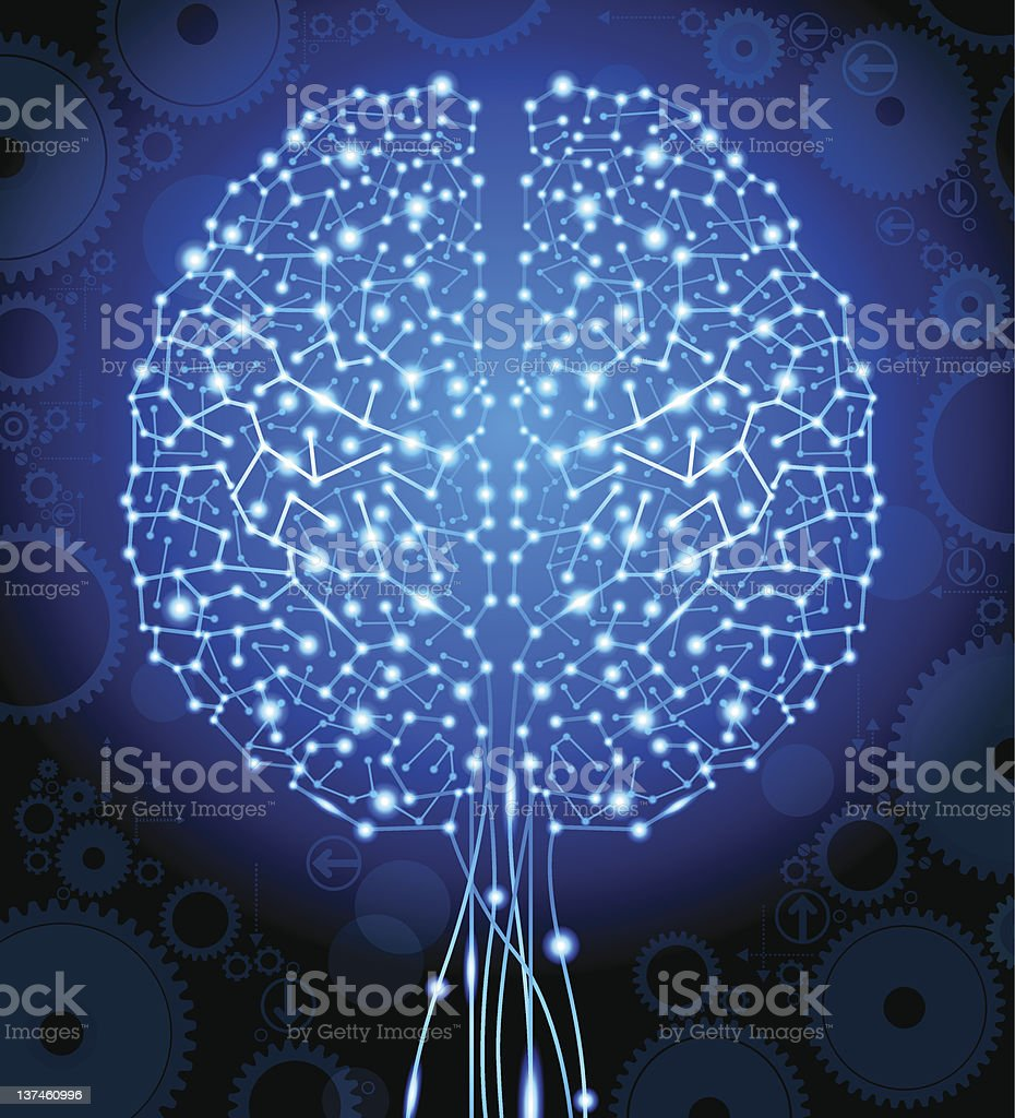 brain and  circuit board in the form of a tree vector art illustration