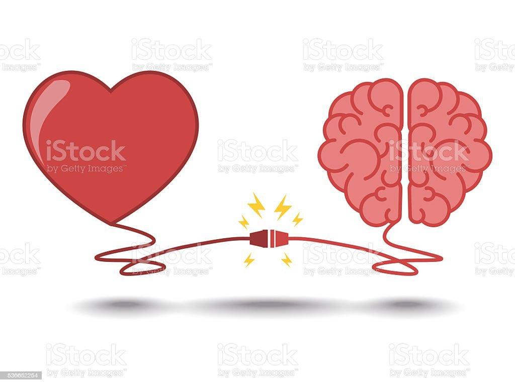 brain and heart interactions concept best teamwork vector art illustration
