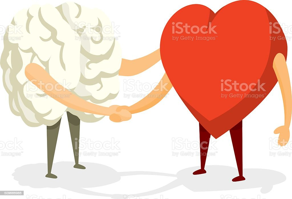 Brain and heart shaking hands vector art illustration