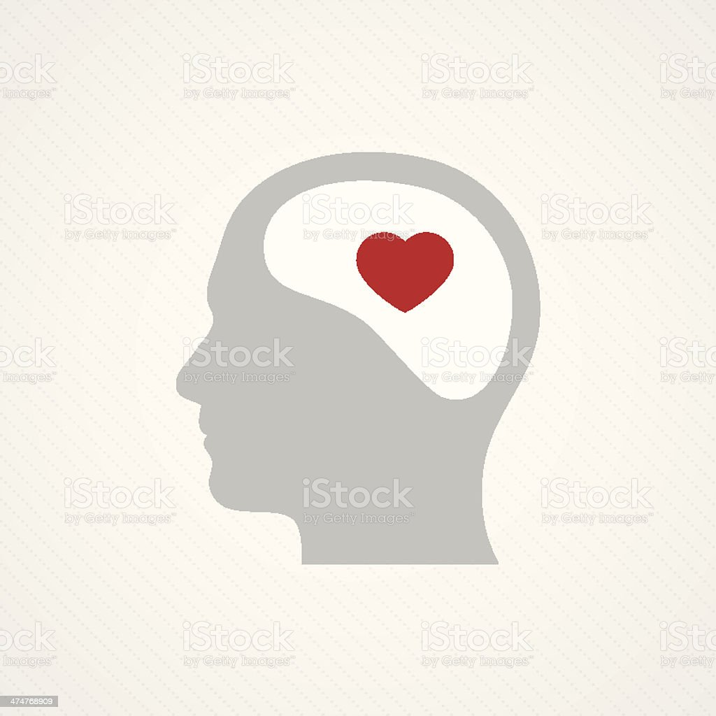 Brain and heart vector art illustration