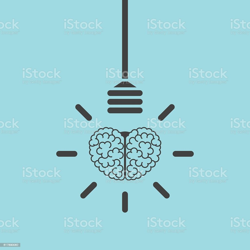 Brain and lightbulb concept vector art illustration