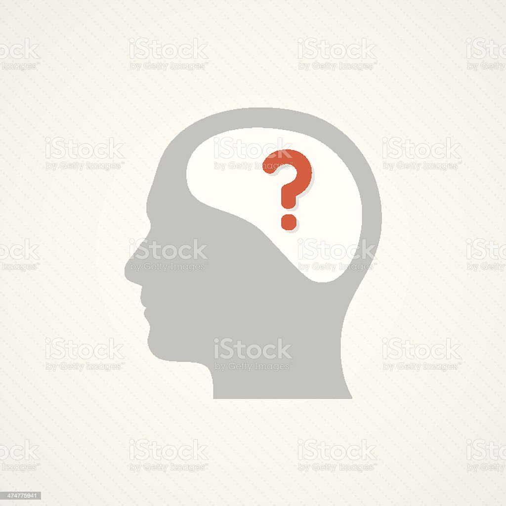 Brain and question vector art illustration
