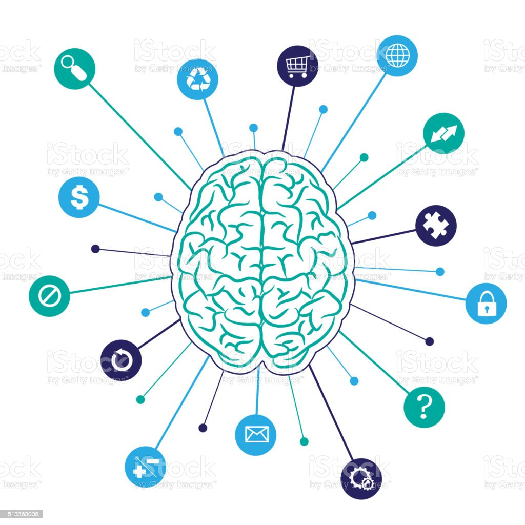 Brain background with icons vector art illustration