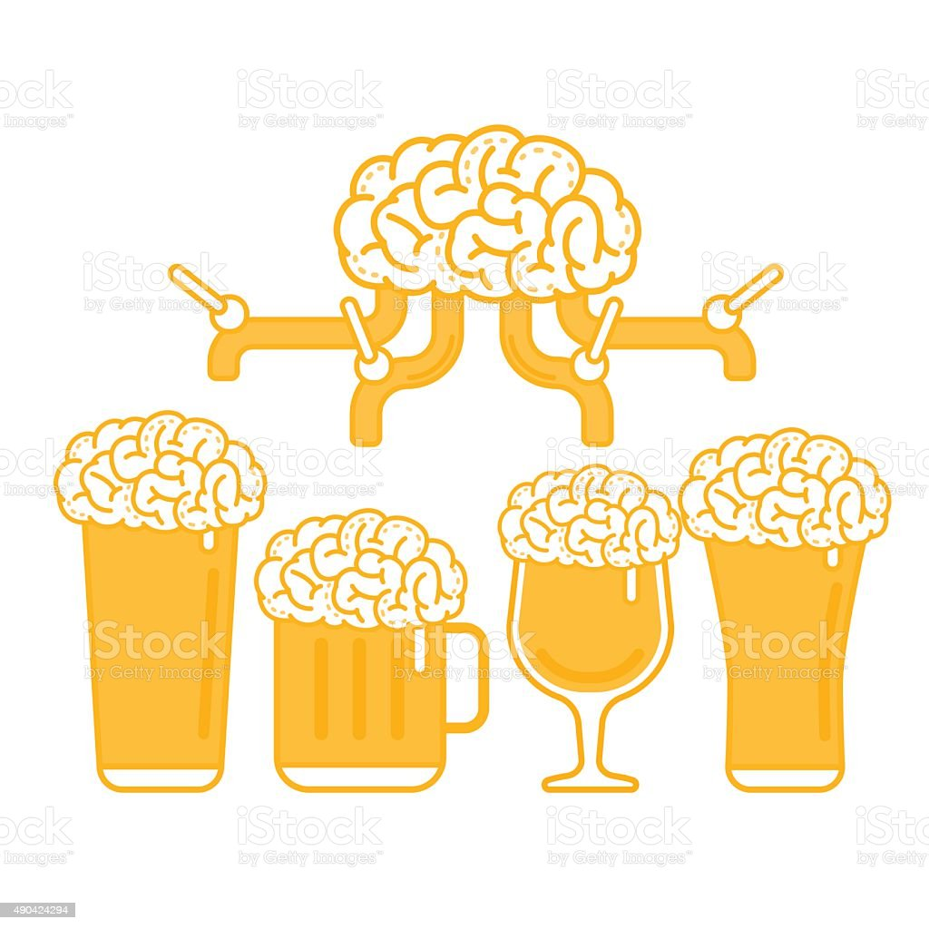 Brain Beer Tap and Various Types of Glass vector art illustration