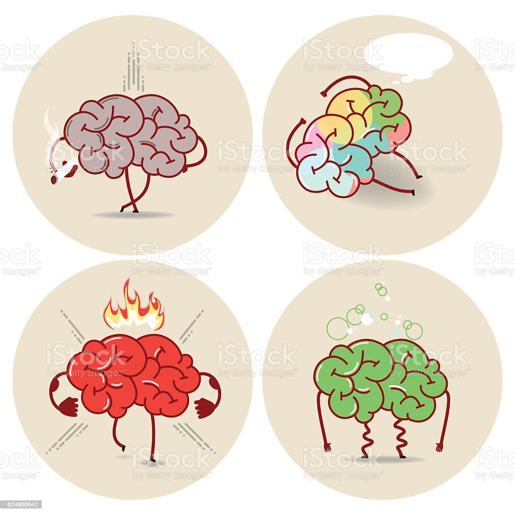 Brain cartoon, various kinds of bad habits. Vector isolated set vector art illustration