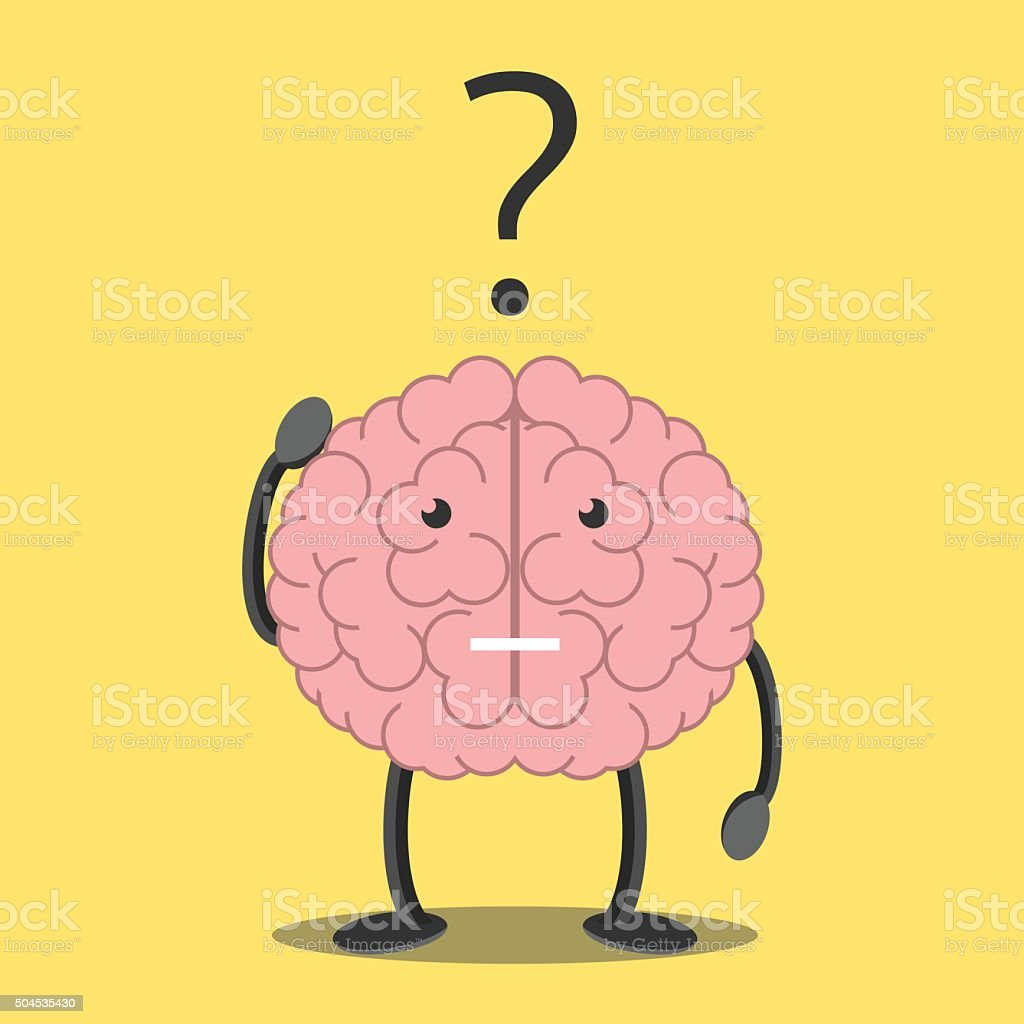 Brain character thinking vector art illustration