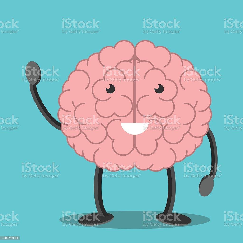 Brain character waving hand vector art illustration