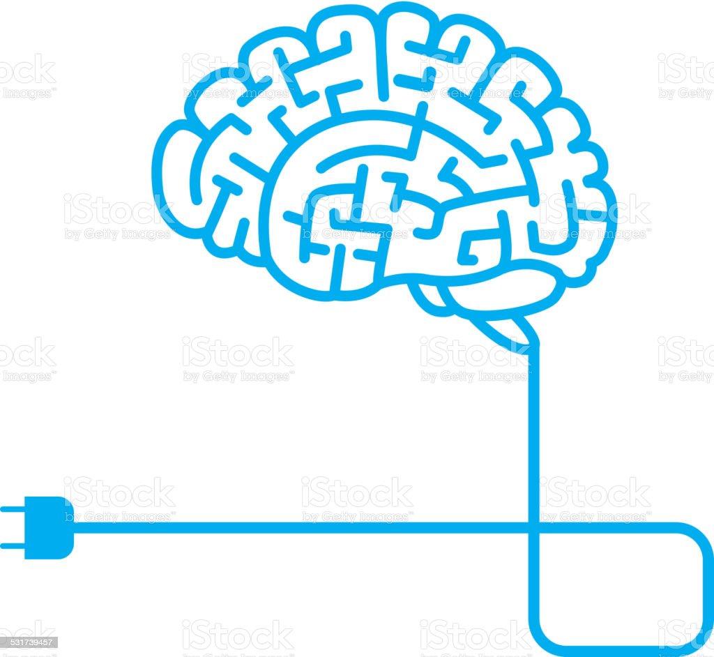 Brain charge vector art illustration