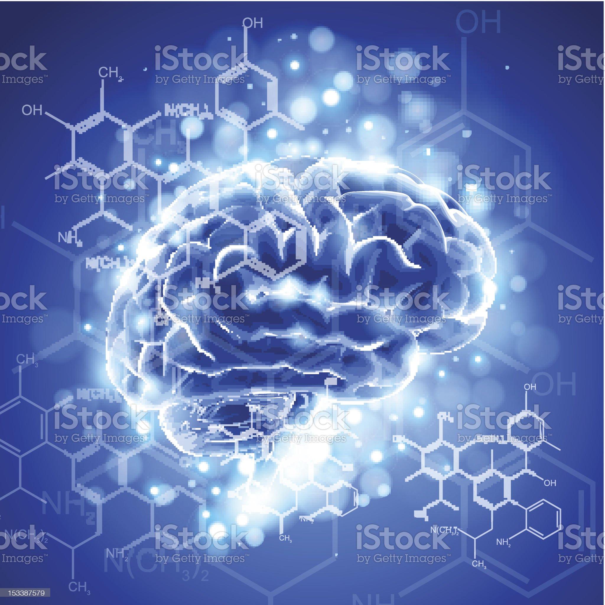 brain, chemical formulas & lights royalty-free stock vector art