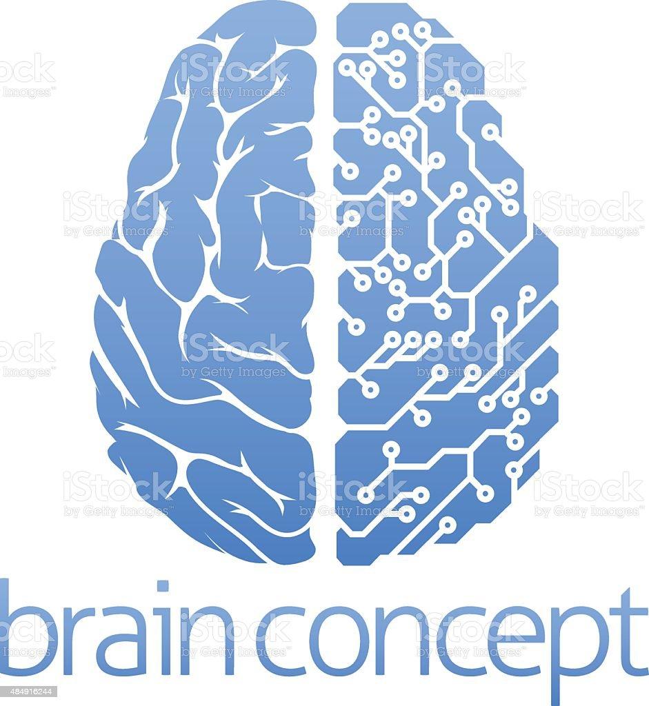 Brain circuit board concept vector art illustration