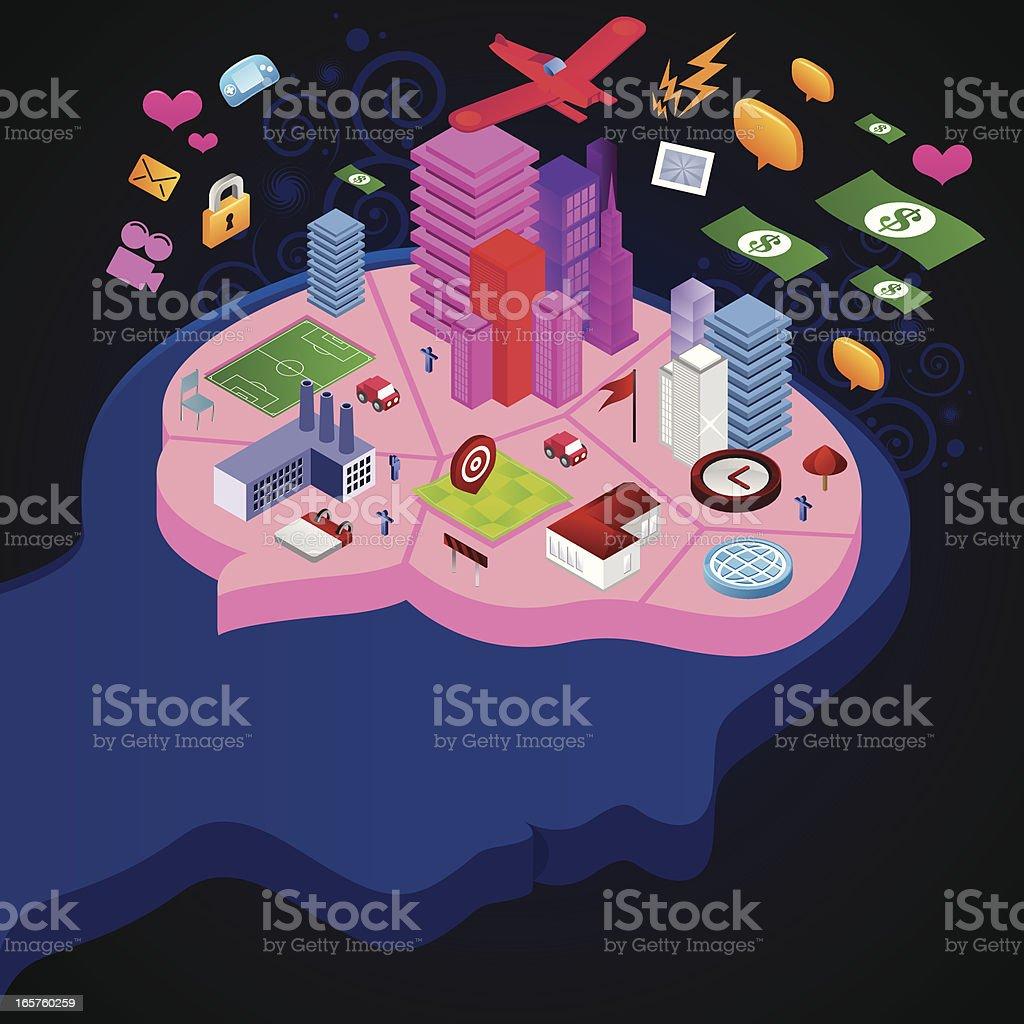 Brain city royalty-free stock vector art