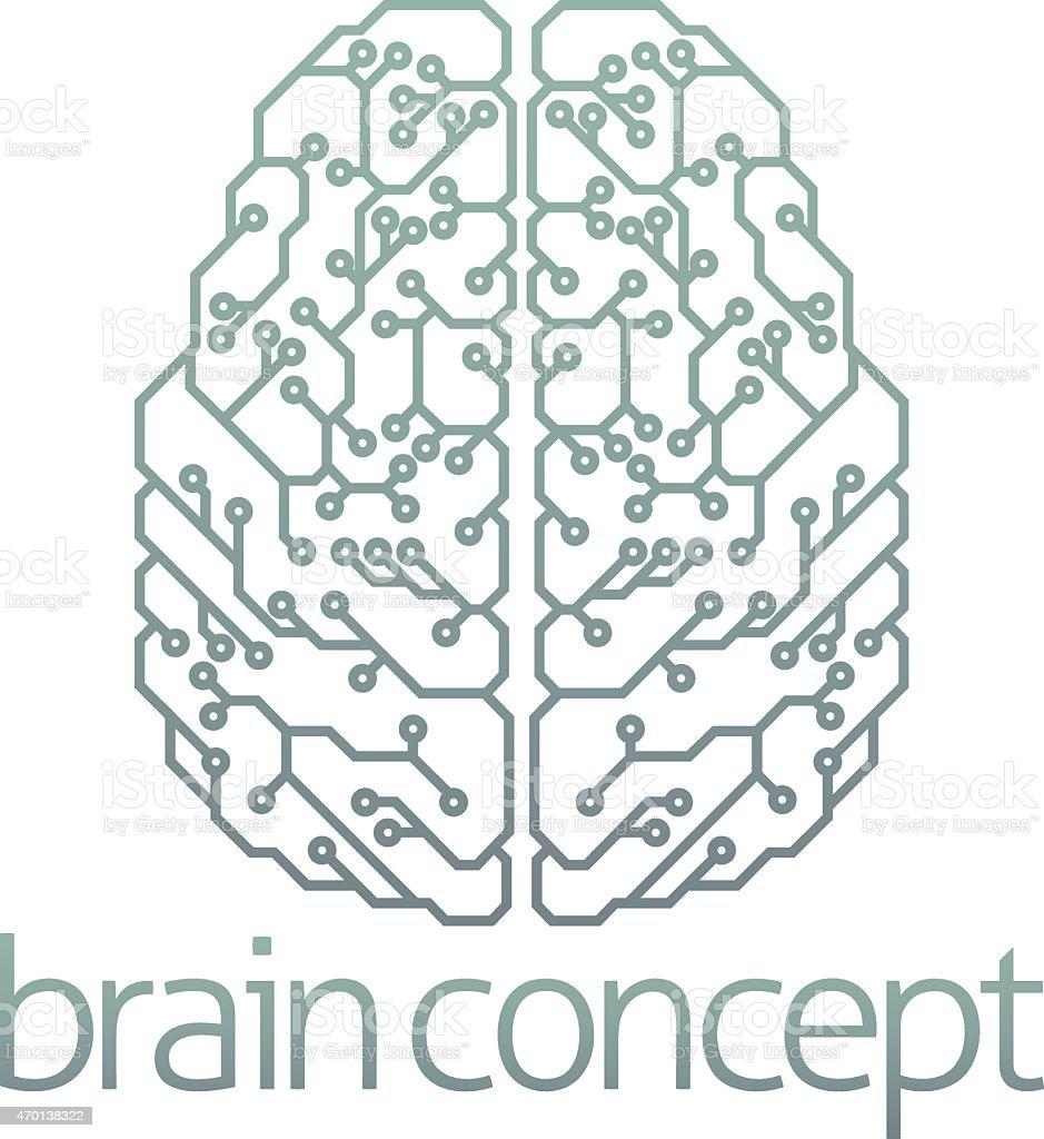 Brain computer circuit design vector art illustration