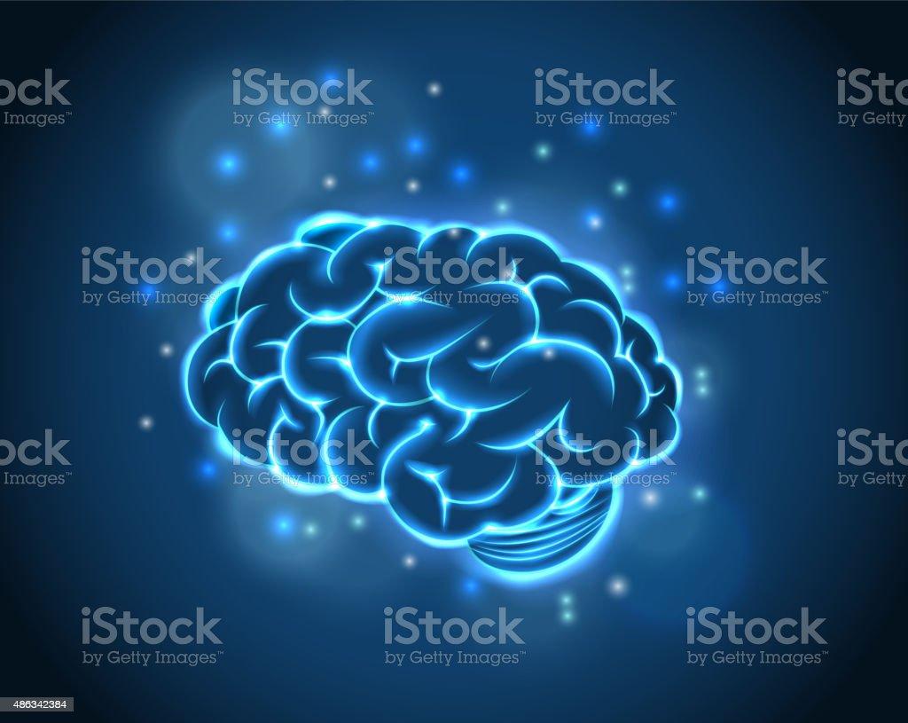 Brain Concept of blue background vector art illustration