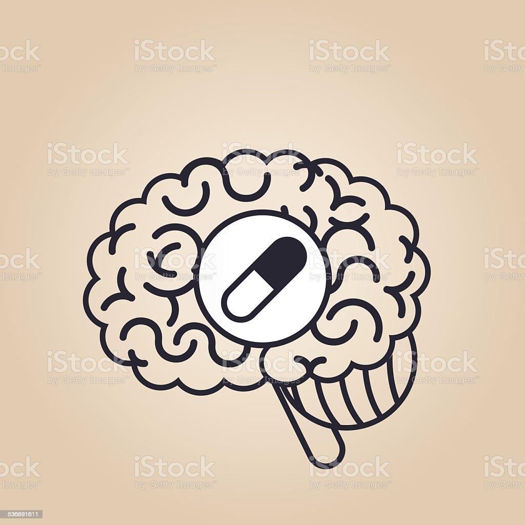 Brain concept: pills vector art illustration