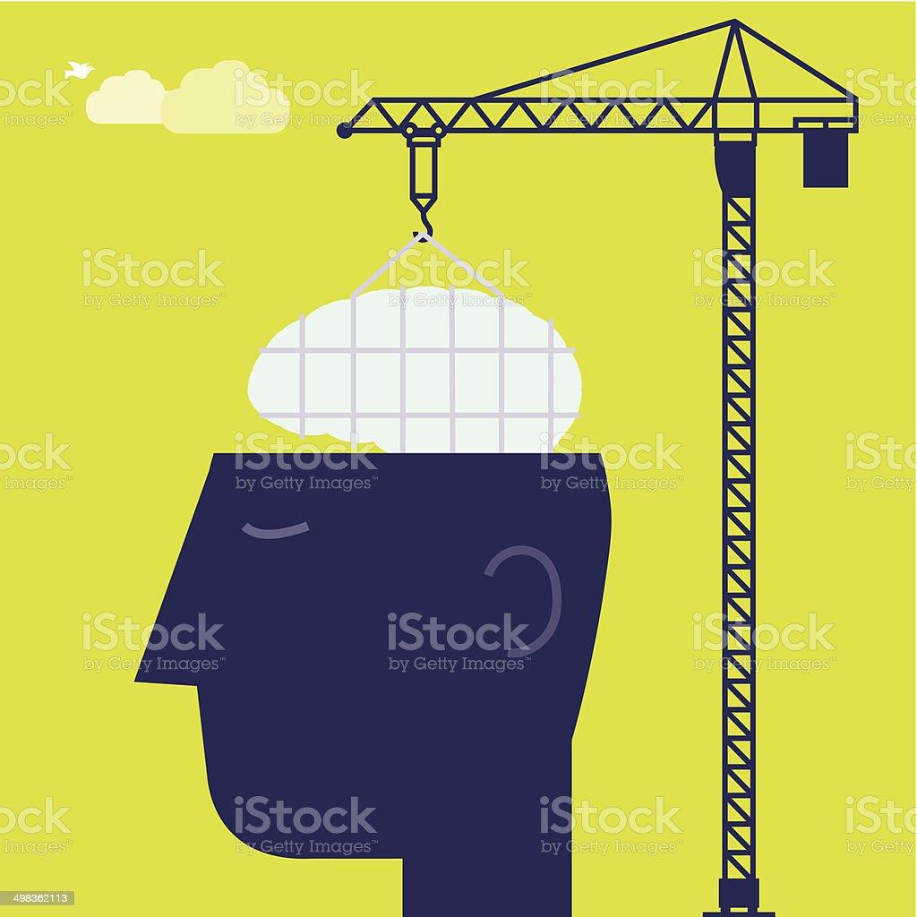 Brain Crane vector art illustration