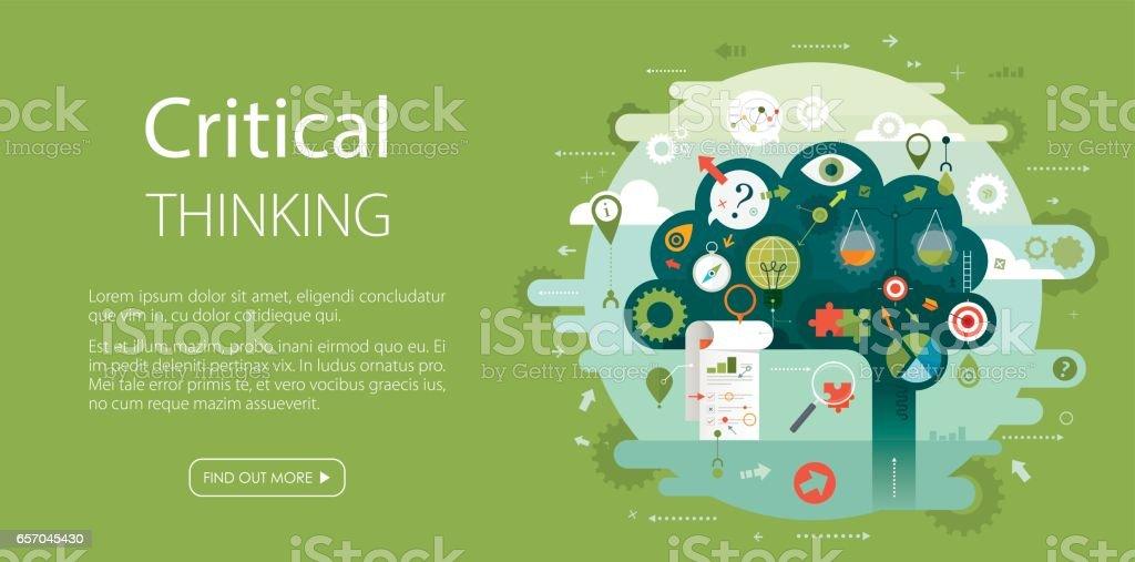 Brain Critical Thinking Web Banner Green Background vector art illustration