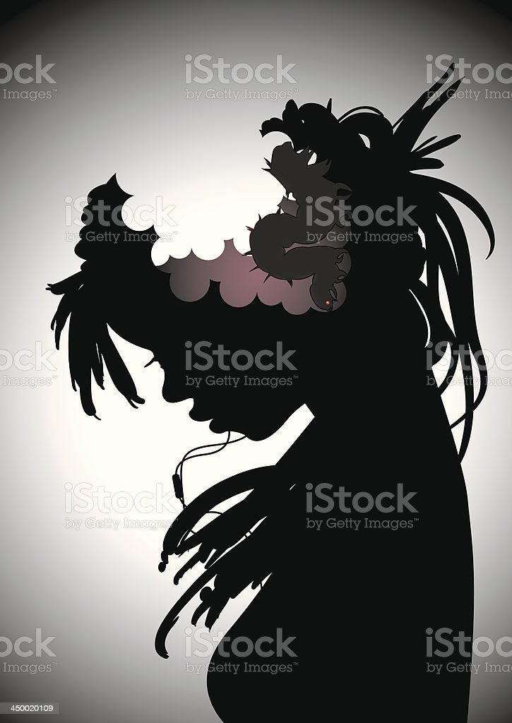 Brain damage, dope consequences or drugs disease. Worm brain. vector art illustration