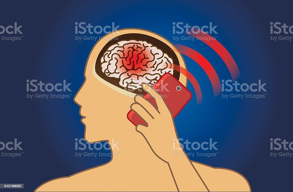 Brain Damage from using mobile phone in a long time vector art illustration