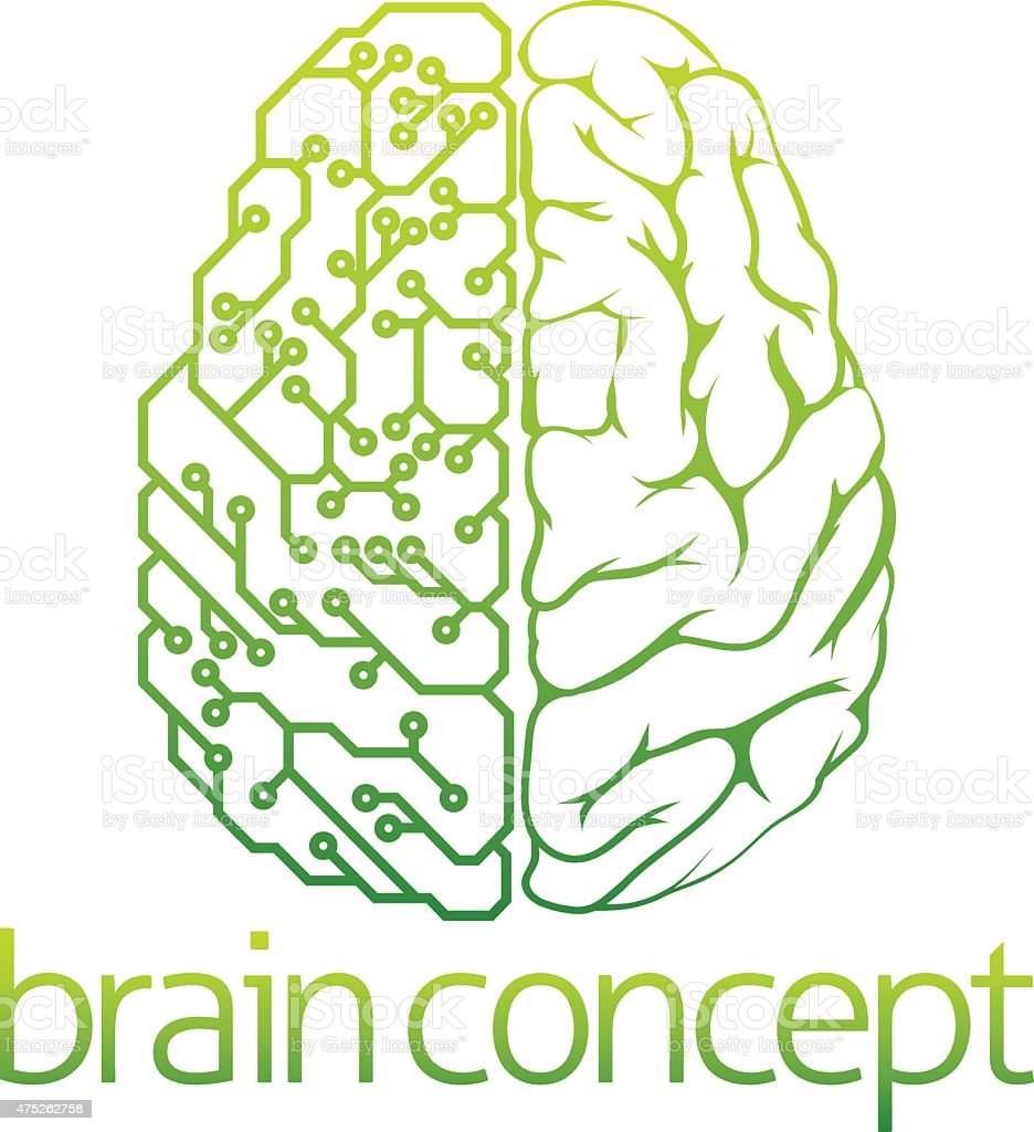 Brain electrical circuit design vector art illustration