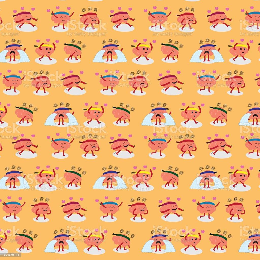 brain emotion pattern background vector art illustration
