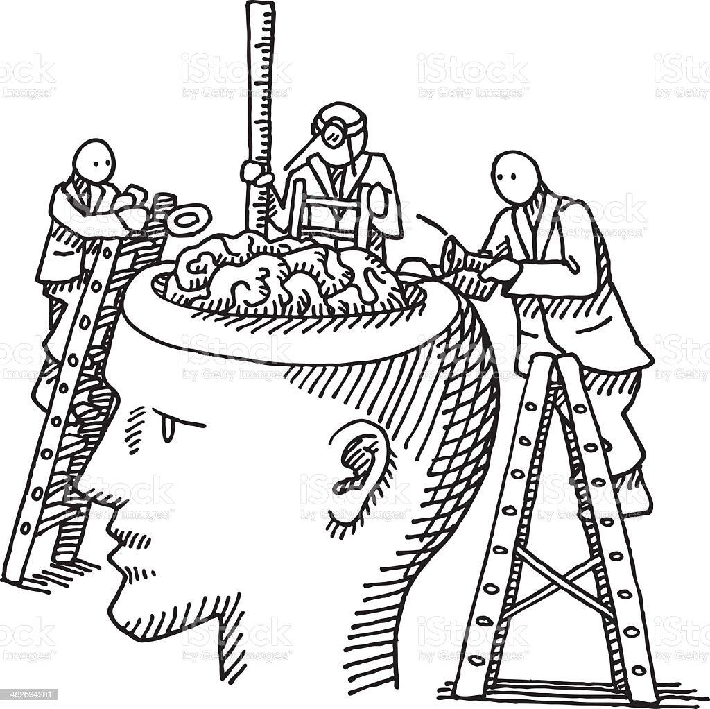 Brain Examination Concept Drawing royalty-free stock vector art