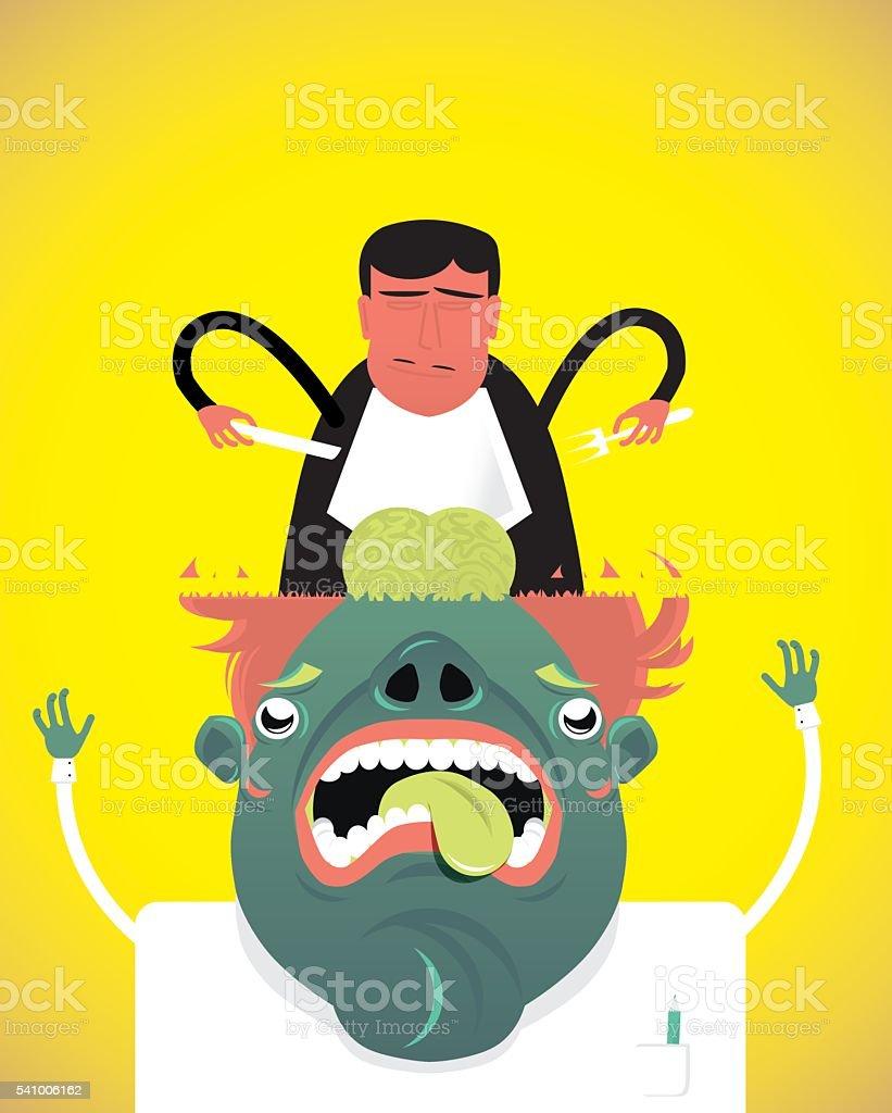 brain food, strange , man with a lobotomy,vector illustration, person royalty-free stock vector art
