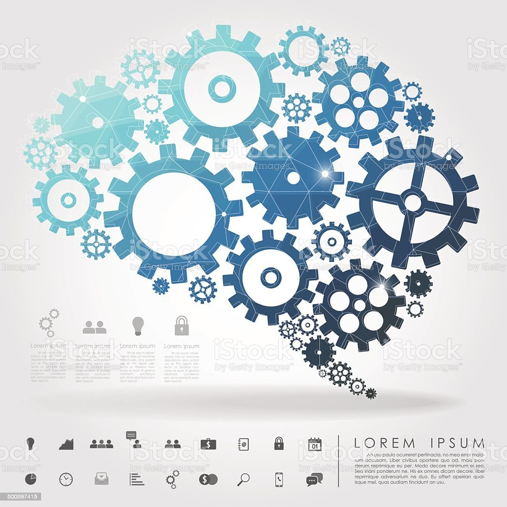 brain gear polygon with business icon vector art illustration