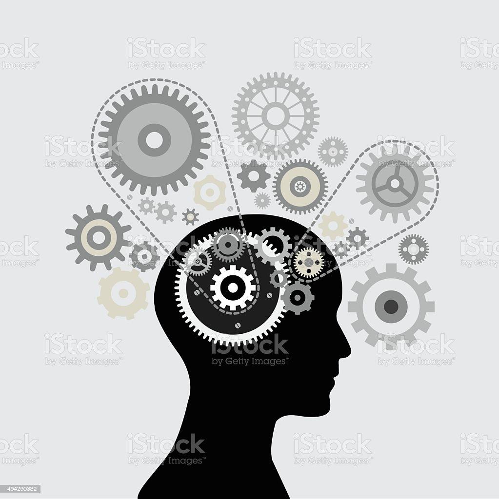 Brain gear vector art illustration