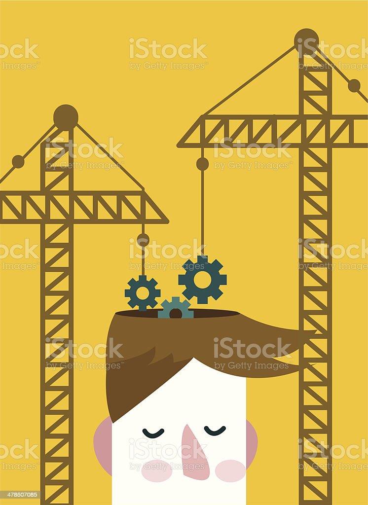 Brain gears construction. vector art illustration