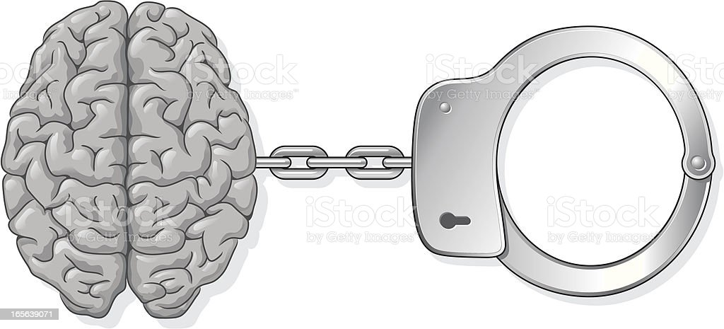 Brain handcuffs royalty-free stock vector art