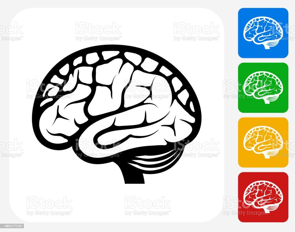 Brain Icon Flat Graphic Design vector art illustration