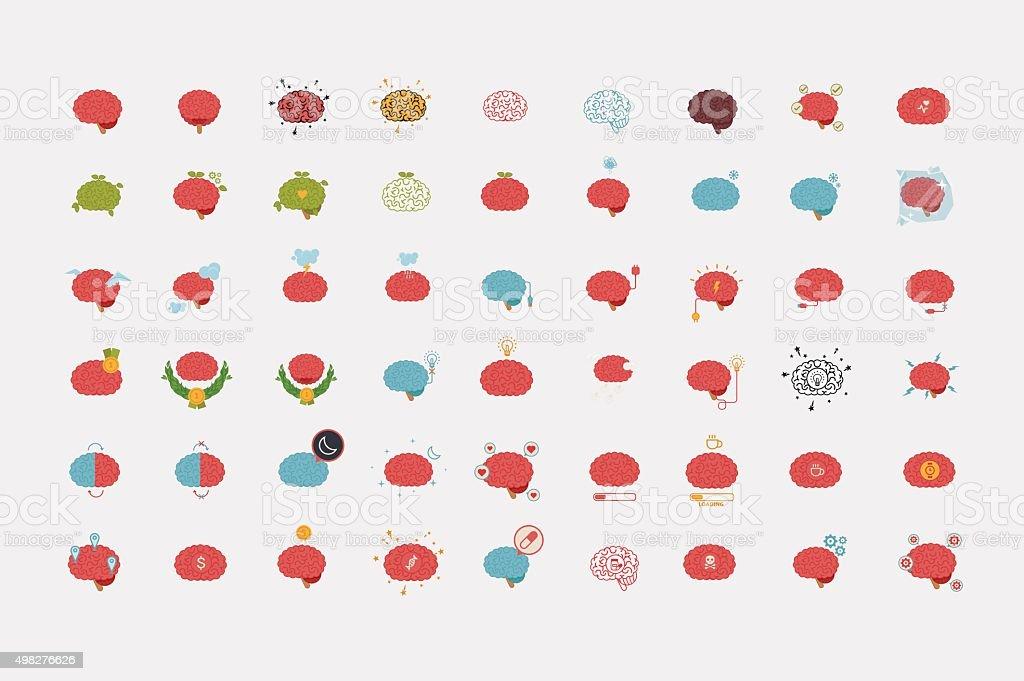 Brain icon set vector art illustration