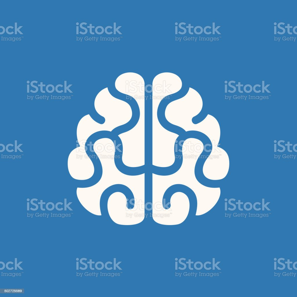 Brain Icon. Vector on Blue Background royalty-free stock vector art