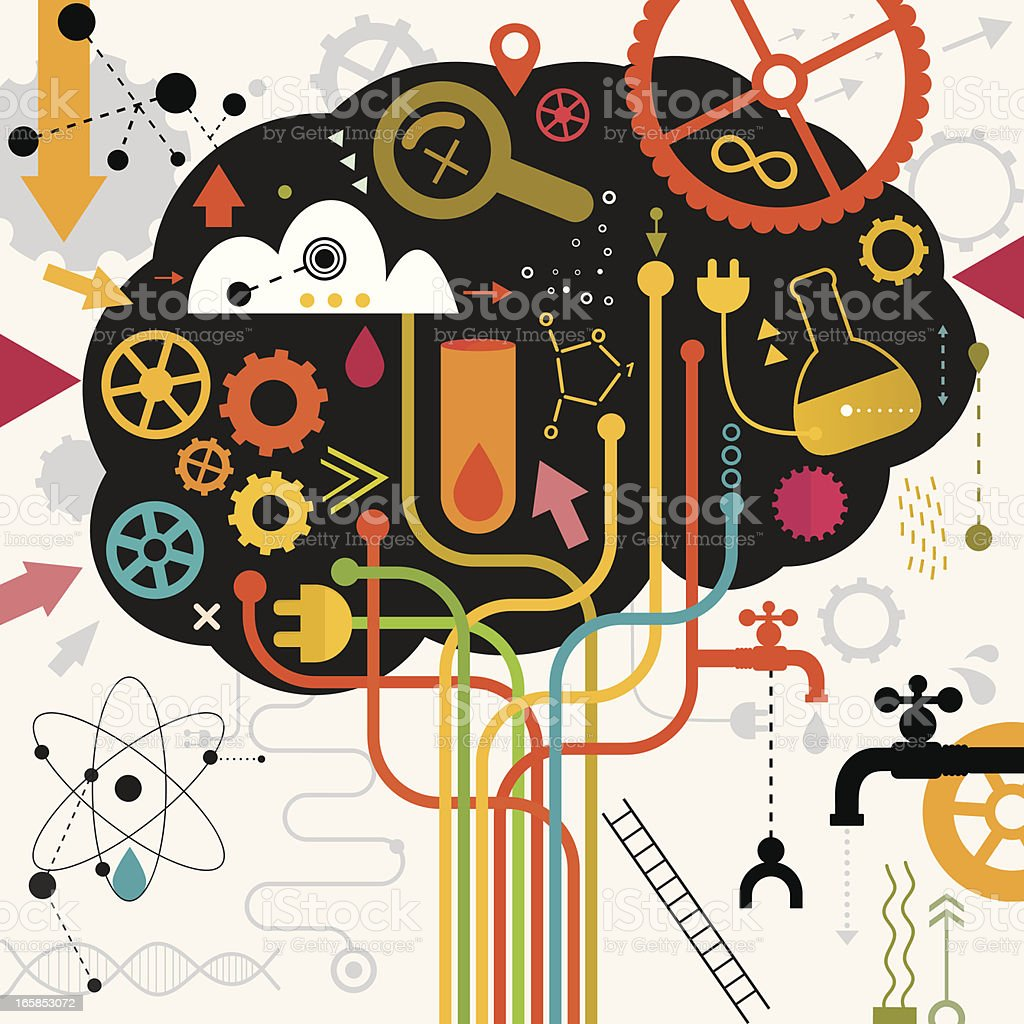 Brain In Action Making Research vector art illustration
