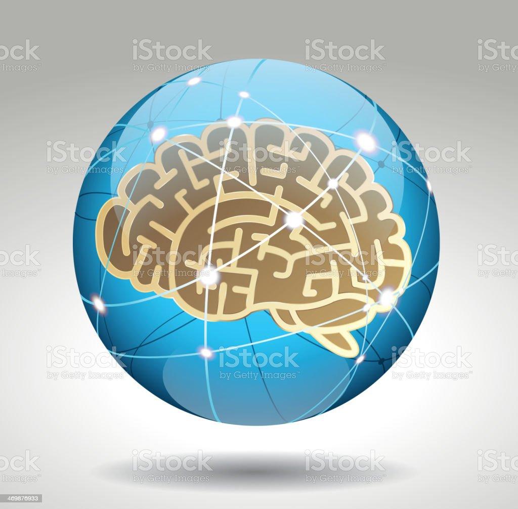Brain in cyberSpace royalty-free stock vector art