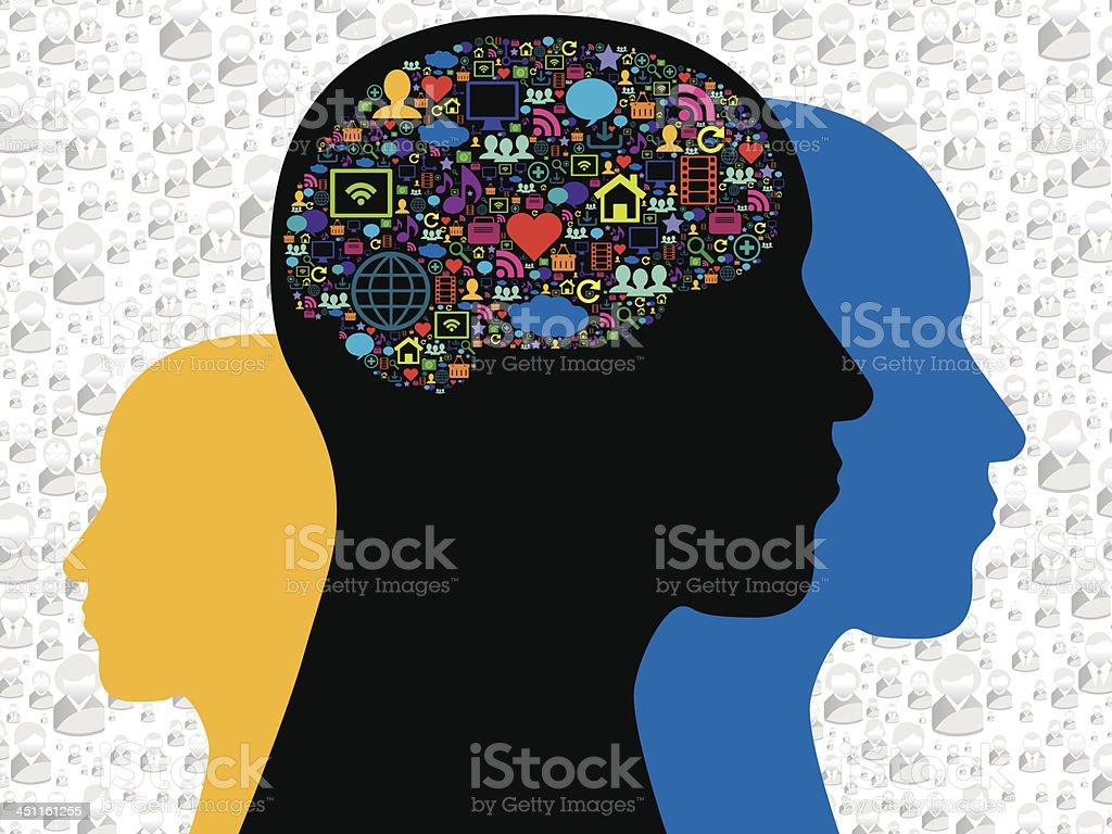 Brain in the social media icons vector art illustration